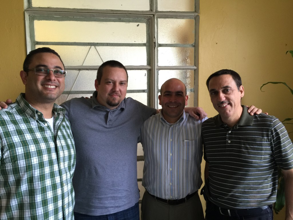 Elio Martiz, our host for the week, along with Dennis, Barbaro, and Abdiel at the Havana Seminary.